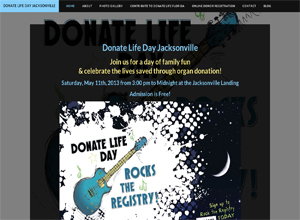Small Business Website Design Sample Work - Donate Life Day Jacksonville